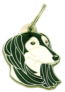 SALUKI BLACK AND WHITE - pet ID tag, dog ID tags, pet tags, personalized pet tags MjavHov - engraved pet tags online
