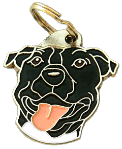 AMERICAN STAFFORDSHIRE TERRIER BLACK - pet ID tag, dog ID tags, pet tags, personalized pet tags MjavHov - engraved pet tags online