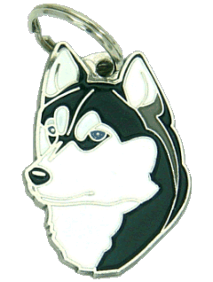 SIBERIAN HUSKY BLACK AND WHITE - pet ID tag, dog ID tags, pet tags, personalized pet tags MjavHov - engraved pet tags online