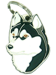 SIBERIAN HUSKY BLACK, BROWN EYES - pet ID tag, dog ID tags, pet tags, personalized pet tags MjavHov - engraved pet tags online