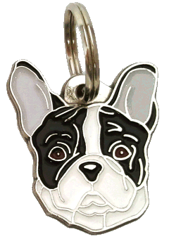 FRENCH BULLDOG BLACK AND WHITE - pet ID tag, dog ID tags, pet tags, personalized pet tags MjavHov - engraved pet tags online