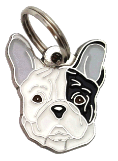 FRENCH BULLDOG WHITE, BLACK EYED - pet ID tag, dog ID tags, pet tags, personalized pet tags MjavHov - engraved pet tags online