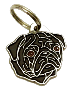 PUG BLACK - pet ID tag, dog ID tags, pet tags, personalized pet tags MjavHov - engraved pet tags online