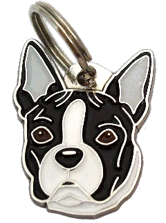 BOSTON TERRIER BLACK AND WHITE - pet ID tag, dog ID tags, pet tags, personalized pet tags MjavHov - engraved pet tags online